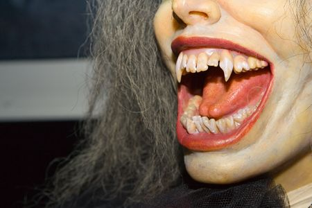 to curse: Vampire. Vampire mouth and teeth. Stock Photo