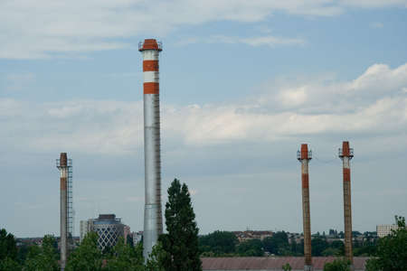 industrial landscape: La zona � industriale. Panorama industriale con torri. Archivio Fotografico