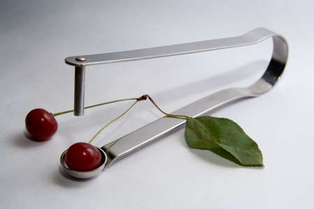 extractor: Sour cherry stone extractor with green leaf. Misandry. Adrophoby. Androphobia.