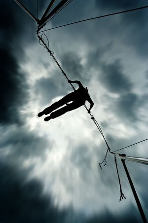 Success. Up into the sky. Woman jumps into the sky. Top of the world. Stock Photo - 635968