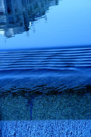 lurid: Brillant River, blue, clear, fall, waterfall wave, reflection,