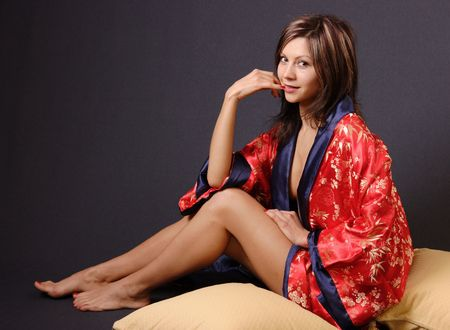 Nasty looking pretty young women in japanese style clothes Stock Photo - 331438