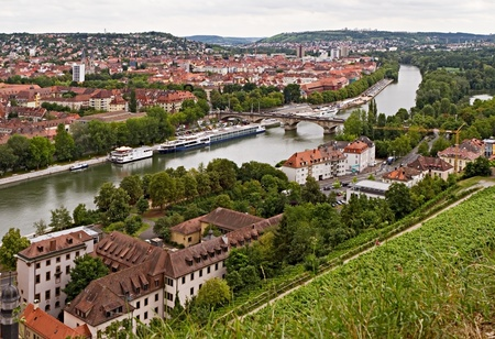 View on Wuerzburg from Marienberg fortress, Germany Stock Photo