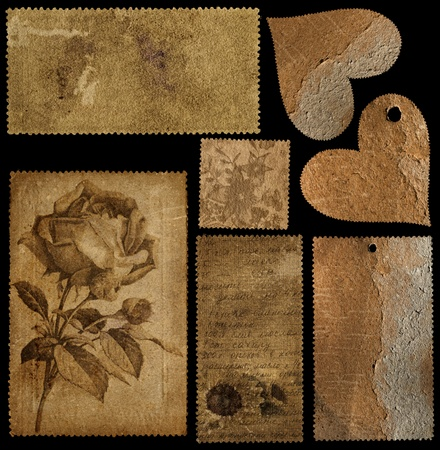 Set of old cards and two hearts for scrap kits  Stock Photo