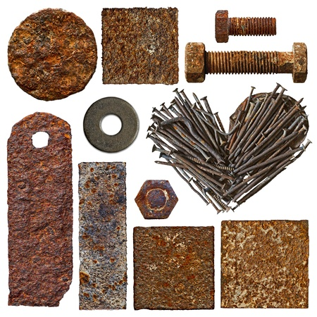 Set of old rusty objects