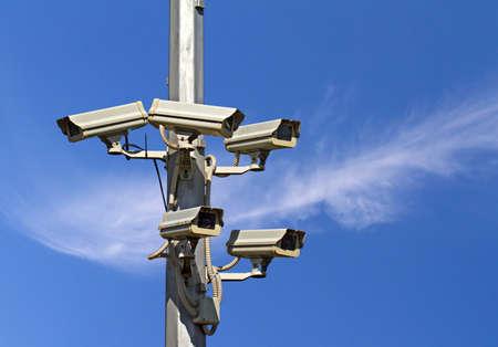 under surveillance: Five outside security cameras  CCTV