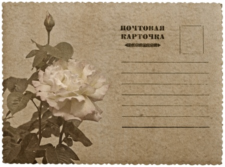 Greeting card with rose. Russian language  Stock Photo