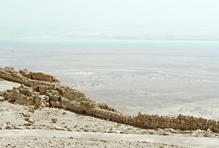 View of the Dead Sea from fortress Masada photo