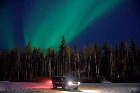 phenomena: Aurora and a car