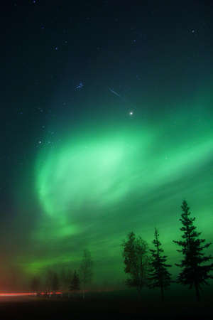 borealis: Aurora and a meteor