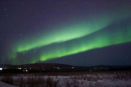 auroral: Two auroral arcs Stock Photo