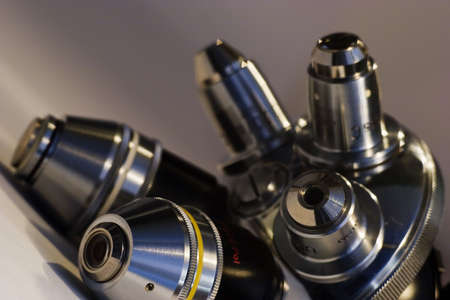 Revolver mount with different microscope lenses photo