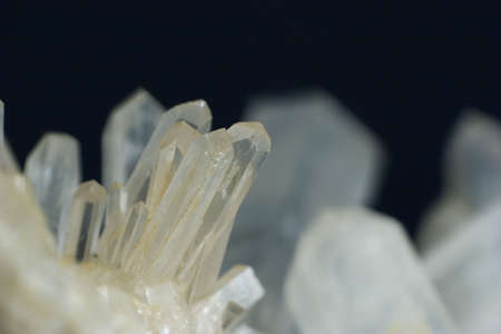 hydrothermal: Close-up on tiny quartz crystals of classic shape (prysm-rhombohedral or also called