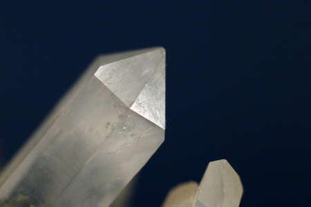 hydrothermal: Macro shot of quartz crystal head - classic rhombohedra and prism combination. Stock Photo