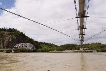 Alyeska pipeline and Richardson Hwy bridges near Delta, AK, USA photo
