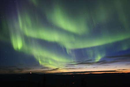 ionosphere: Twilight sky with aurora borealis