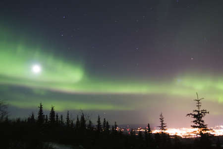 aurora polaris: Active duo-color northern lights and bright full moon over Fairbanks, Alaska