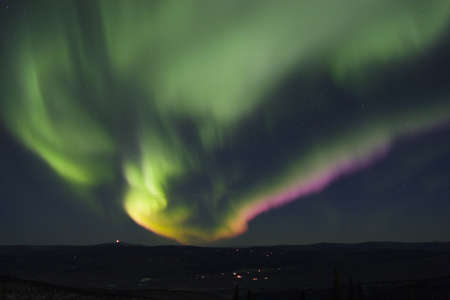 aurora polaris: Colorful northern lights in the night sky