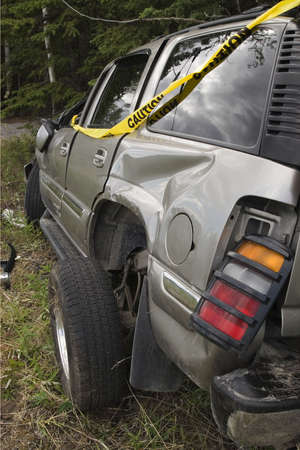 rollover: result of SUV accident - wreck Stock Photo