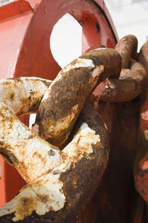 corroded: Rusted and corroded anchor chain of the drillship