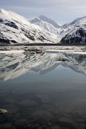 byron: Early summer view of Byron Glacier, Alaska Stock Photo