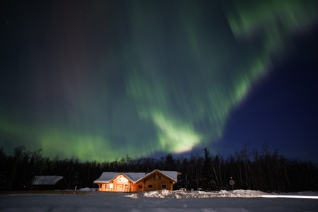 Active aurora display in March 2012  Southcentral Alaska photo