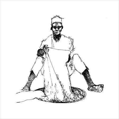 dying: Hausa Man Dying Cloth