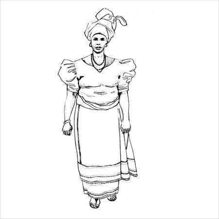 nigeria: African Woman In Traditional Dress Illustration