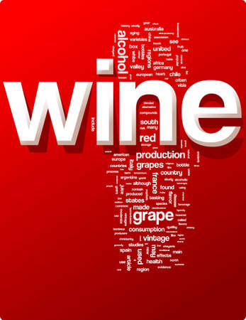 enzymes: Wine word cloud illustration. Graphic tag collection Illustration