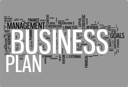 visualisation: Business plan word cloud illustration. Graphic tag collection