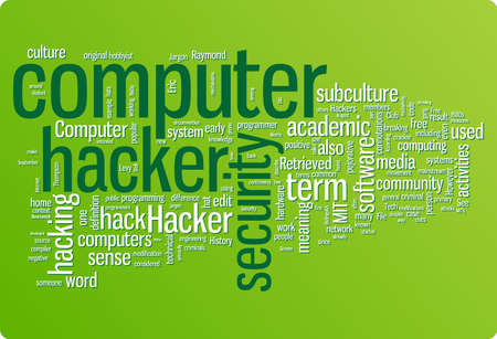 Hacker word cloud illustration. Graphic tag collection Vector