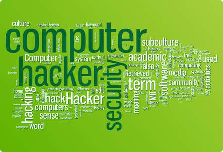 hacking: Illustrazione di nube parola hacker. Insieme di tag di grafica
