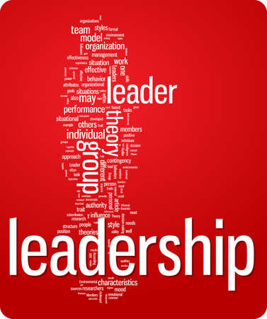 visualisation: leadership word cloud illustration. Graphic tag collection