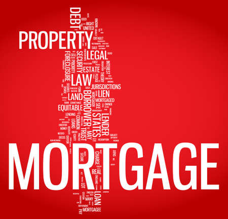 Mortgage word cloud illustration. Graphic tag collection Vector