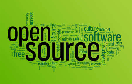 open source: Open source word cloud illustration. Graphic tag collection