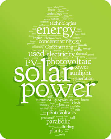 solar thermal: Solar power word cloud illustration. Graphic tag collection