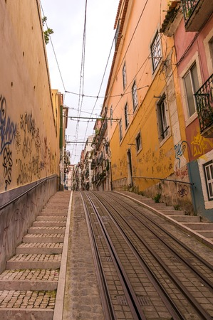 bica: LISBON, PORTUGAL - APRIL 1, 2013: Famous Bica funicular (Elevador da Bica) on October 26, 2013 in Lisbon, Portugal. Editorial