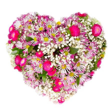 summers: Isolated Summers flowers heart floral collage concept Stock Photo
