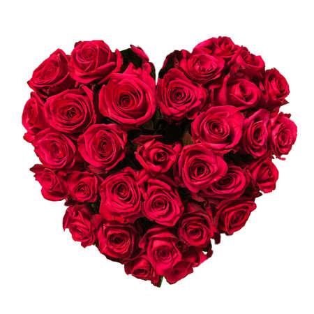 bouquet fleur: Rose coeur isol� sur blanc, chemin de d�tourage inclus