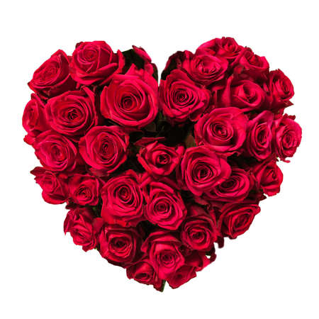 bunch of red roses: Rose heart isolated on white, clipping path included