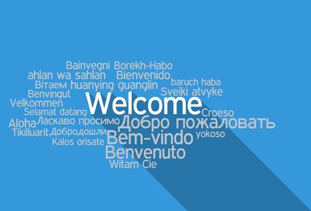 languages: Tag Bienvenido Nube en formato vectorial