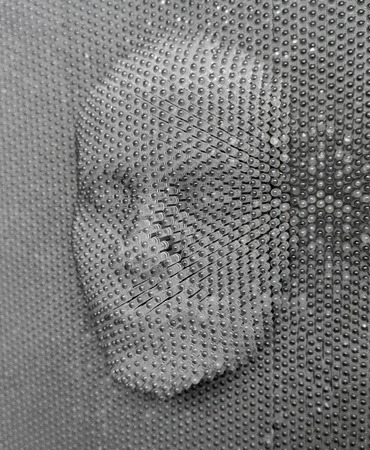 pin board: close up of human face concept made from pin board toy Stock Photo