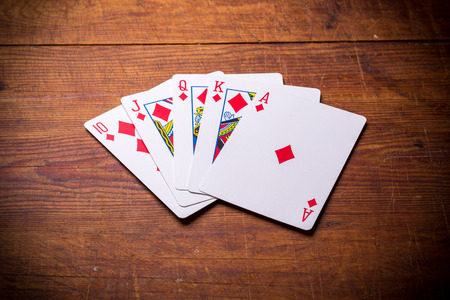 Poker. Combination Royal Flush diamonds photo