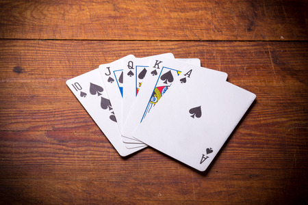 fanned: Poker. Combination Royal Flush spades