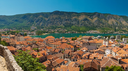 view of kotor bay on sunny day, Kotor, Montenegro photo