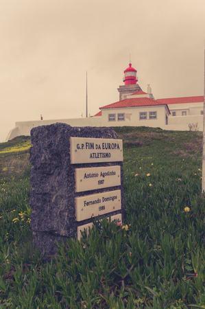 mainland: Portugal. Cabo da Roca and the lighthouse over Atlantic Ocean, the most westerly point of the European mainland.