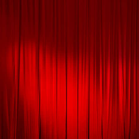 red silk: Red closed curtain with light spots in a theater. Stock Photo