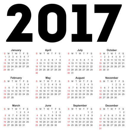 calendrier: Calendrier pour 2017 sur fond blanc. Vecteur EPS10.
