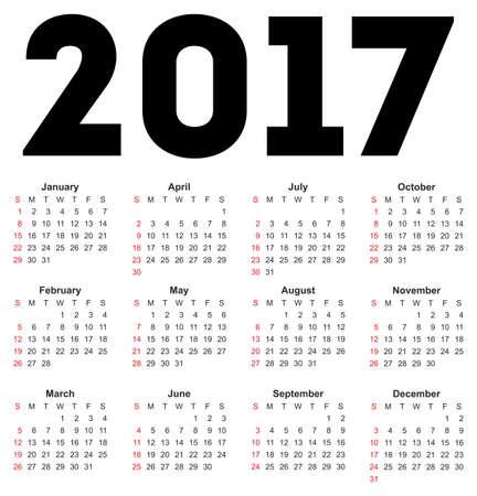 kalendarz: Kalendarz na rok 2017 na białym tle. Wektora EPS10.