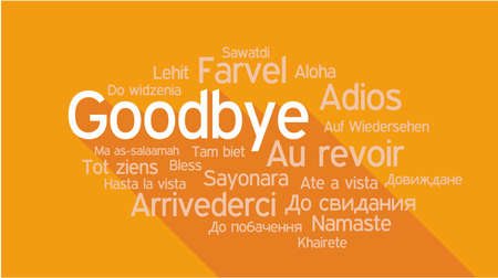 addio: ADDIO in diverse lingue, parole collage illustrazione vettoriale.